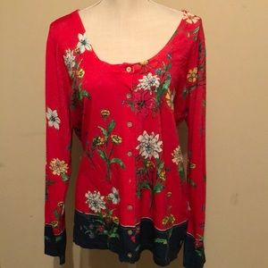 Boston Proper red floral cardigan , xlg